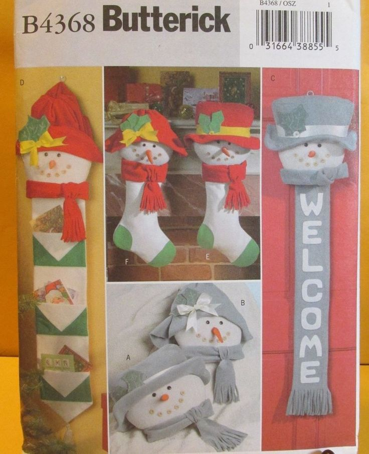 Butterick 4368 - Christmas Snowman Lady Stockings Card Holder Welcome Banner #Butterick