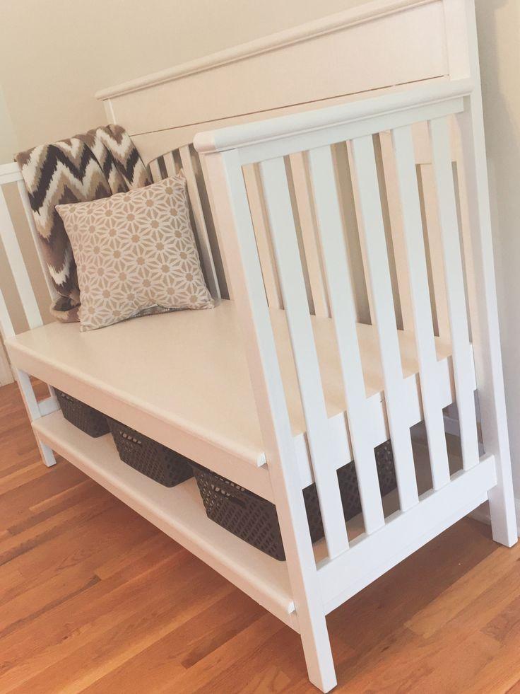 Repurpose crib to bench, DIY, navy wife, military, nurse, registered nurse