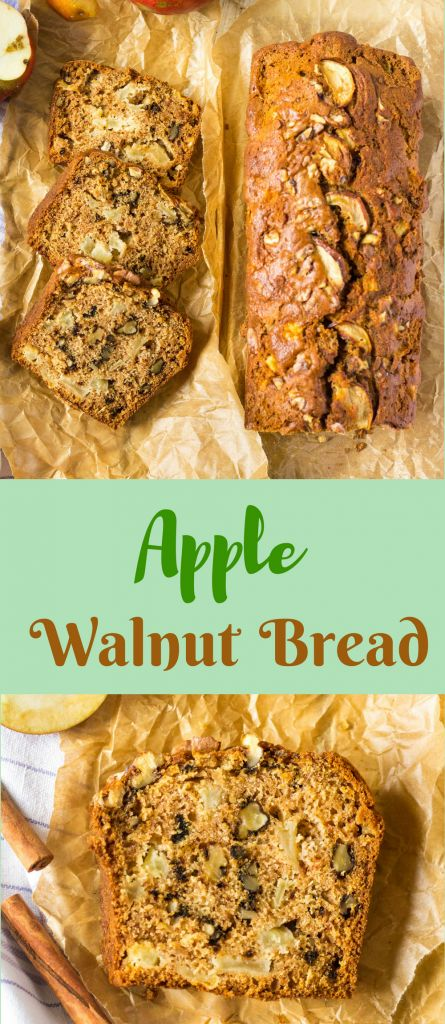 Simple, super tasty, moist fall loaf bread with apples, walnuts and cinnamon