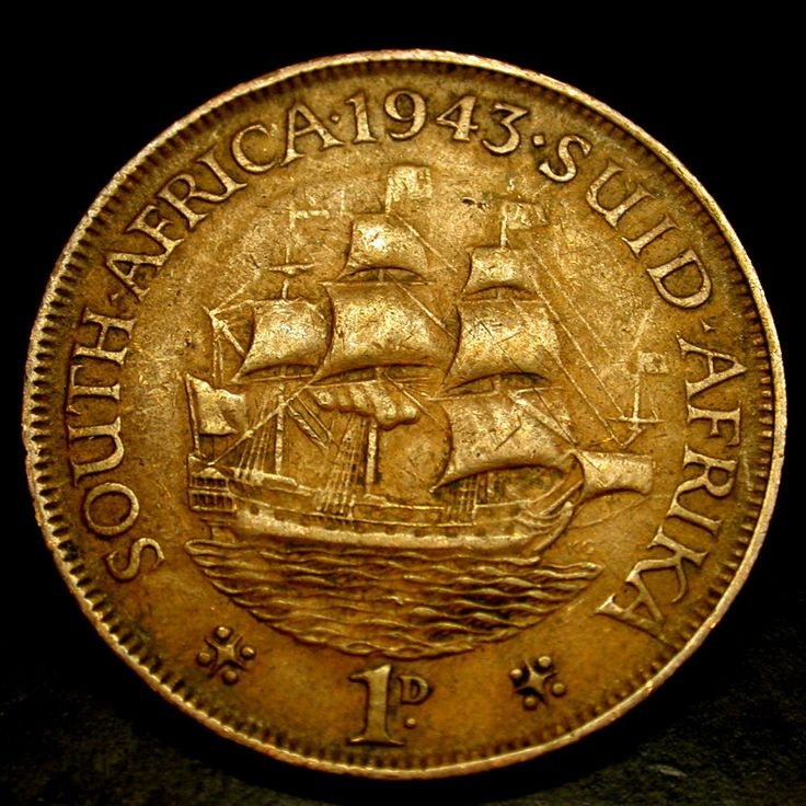 1943 South Africa 1 Cent TALL SHIP Coin in GREAT SHAPE!