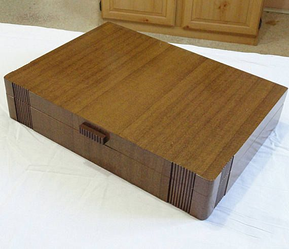 Vintage 1847 Rogers Wood Silverplate Silverware ART DECO Flatware Storage  Box Chest Case With Vertical Ribs