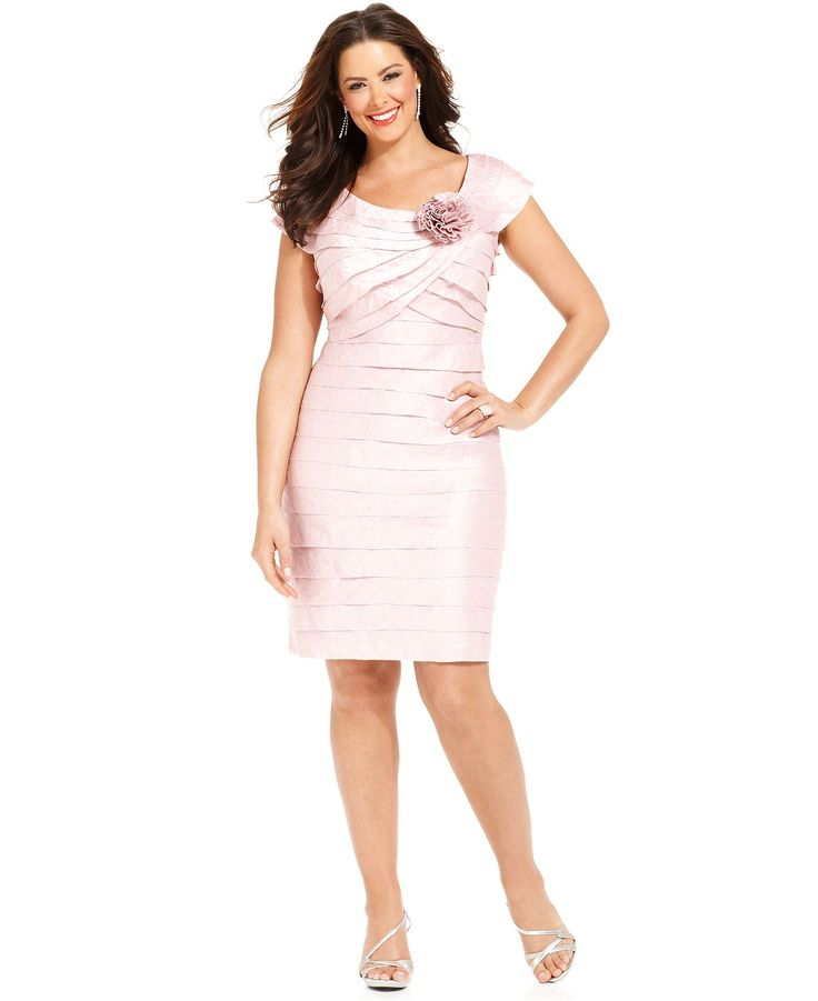 London Times Plus Size Dress Rosette Cocktail Dress