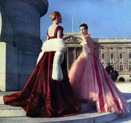 Evening gowns by Hardy Amies, 1957