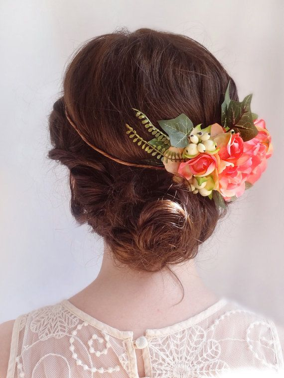 I like the arrangement (bridal floral crown orange pink peony flower crown by thehoneycomb, $105.00)