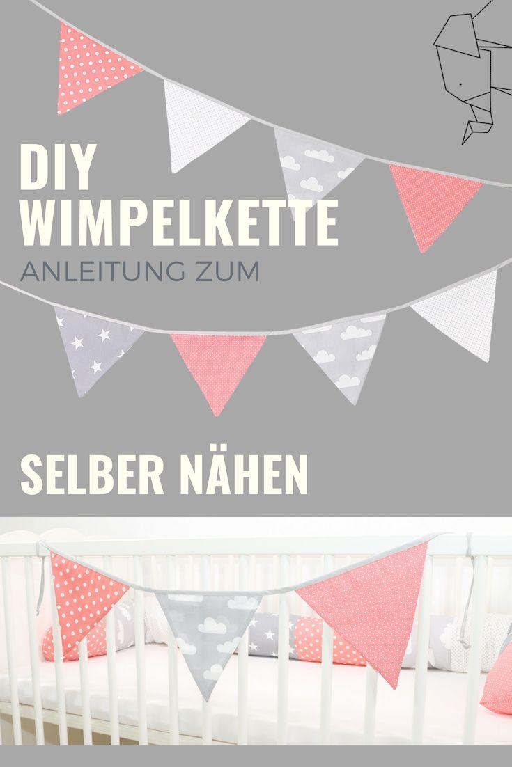 DIY Wimpelkette für das Babyzimmer oder Kinderzimmer – Selber nähen leicht gemacht. Hier findet ihr eine Anleitung zum selber nähen und viele tolle…