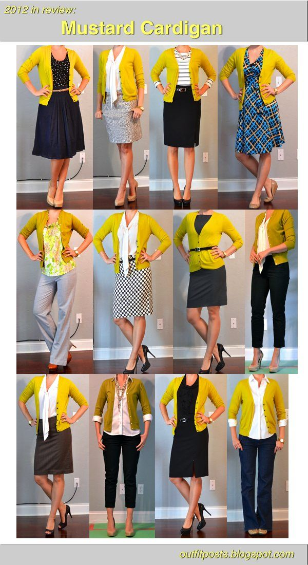 A bold mustard color may seem as if it would be difficult to work into your everyday wardrobe, but look at how many times this blogger broke out her cardigan in the past months.