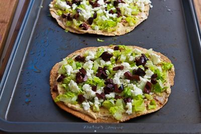 Recipe for Mediterranean Tostadas with Hummus, Feta, and Kalamata Olives [from KalynsKitchen.com]