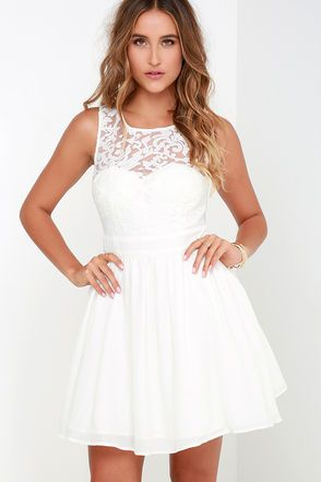 Date night will be your favorite night because it will mean you can bust out the Truth and Fiction Ivory Lace Skater Dress! A padded sweetheart bodice is topped by a sheer lace decolletage. Flattering, banded waist introduces a gathered woven skirt below, including a tulle lining for extra volume. Back keyhole with top button. Hidden back zipper. Front of bodice and skirt are lined. 100% Polyester. Hand Wash Cold. Imported.