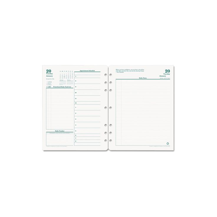 FranklinCovey Original Dated Daily Planner Refill January-December 8 1/2 x 11 2018, White/Green