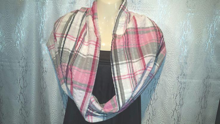 Large plaid pink grey white searsucker cotton mobius  shawl scarf by Scarfgoroundboutique on Etsy