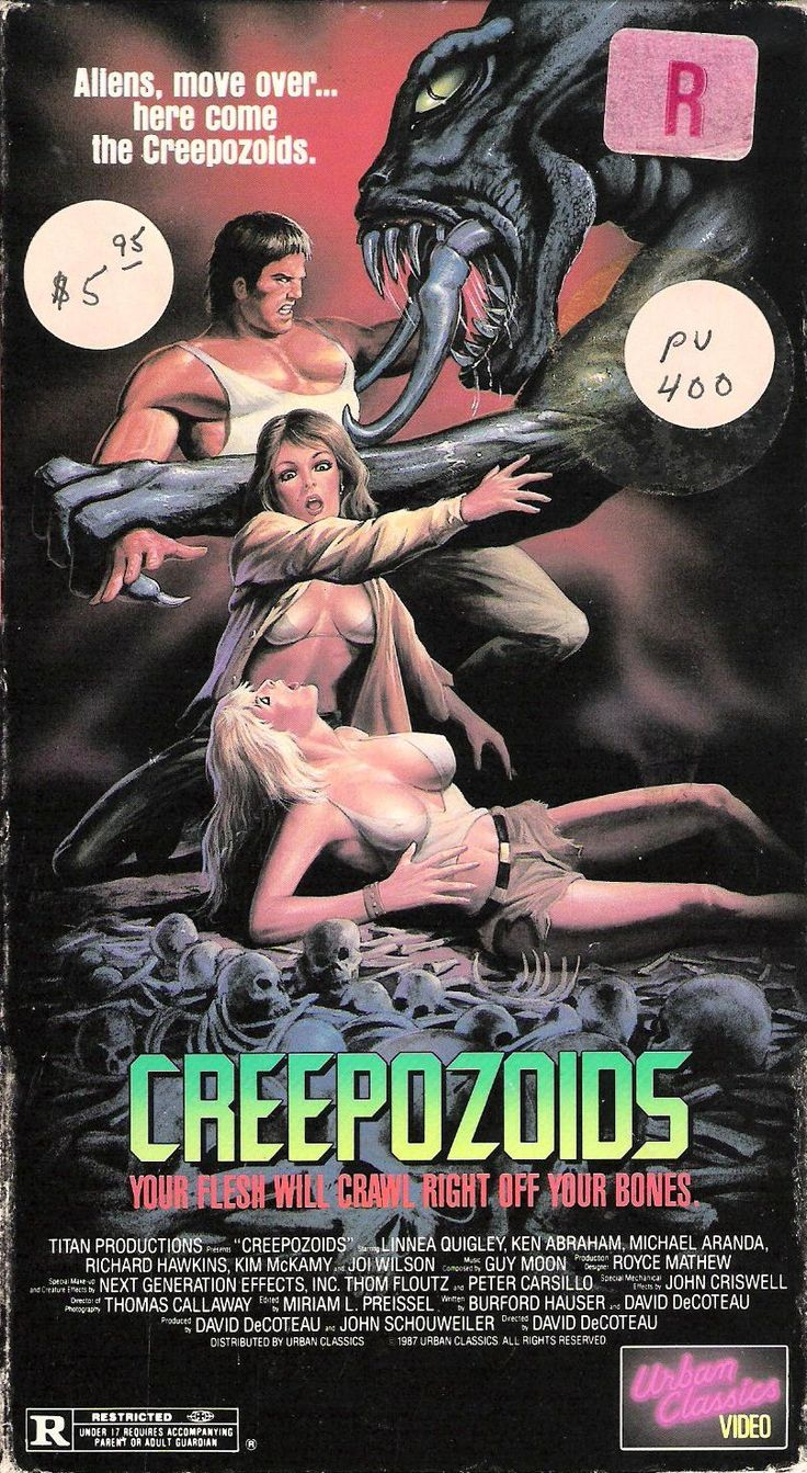 The 50 Craziest Old School Horror VHS Box Covers - 20. Creepozoids (1987)