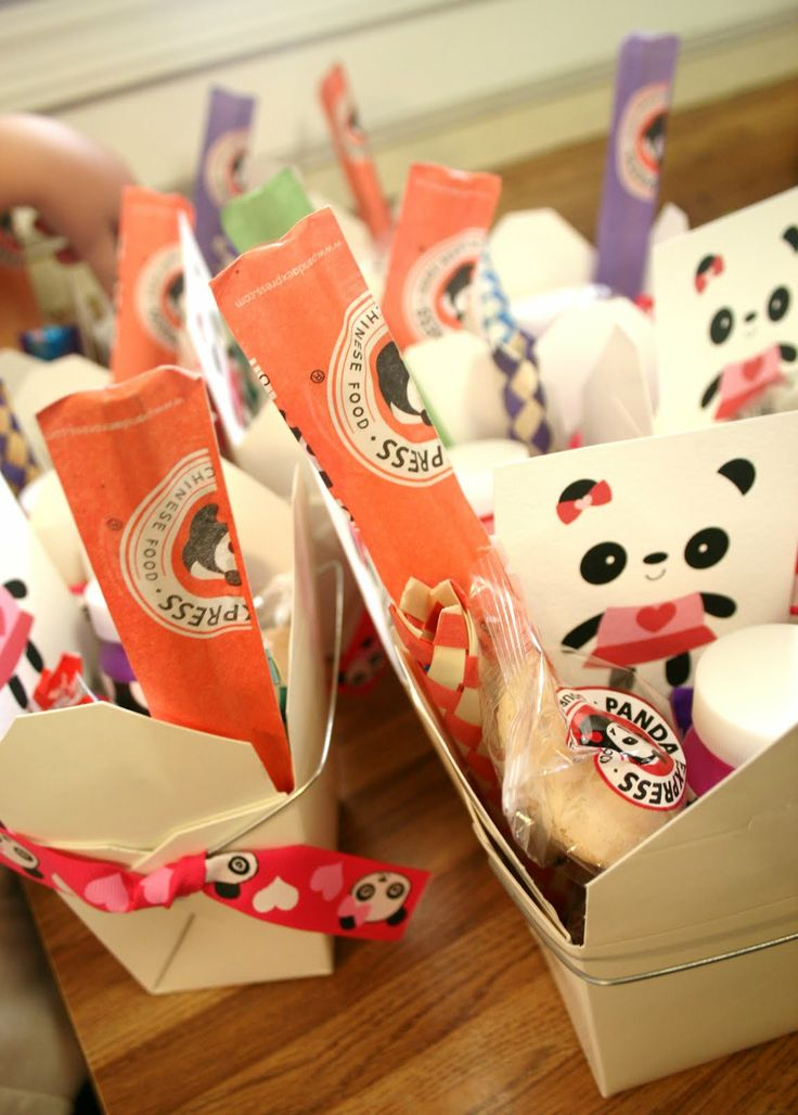 Panda Party favors in Chinese Take Out Boxes