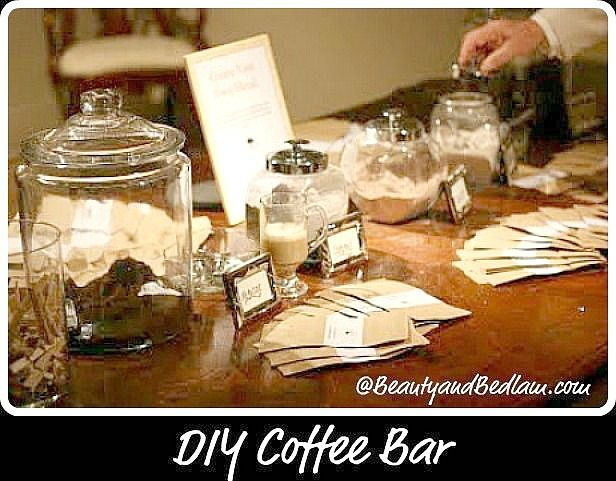 This is such a fabulous idea! Perfect DIY Coffee Bar for parties and weddings. Also includes option for party favor of your own unique blend.