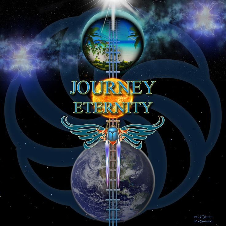 Been working on this fictional Journey album cover for a week and I think fans will like it. In 1980 Journey adopted the logo of the scarab beetle, a symbol borrowed from Egyptian hieroglyphs. It was believed that the beetle would roll the sun across the sky and into the next life/heaven at night and return the next morning. So I made my rocket powered beetle rolling the sun on a track made of crosses into Paradise. The logo in the back of the picture is the symbol for eternity and that is…