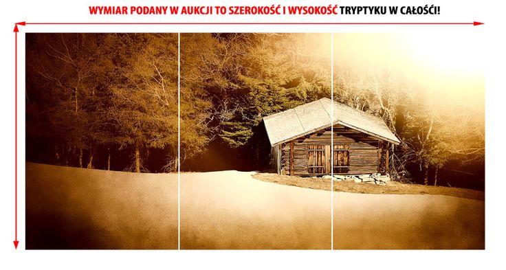 #OBRAZ #Tryptyk w #antyramie 59x130cm krajobraz las chatka 3xA2 (5525717585) - Allegro.pl - Więcej niż aukcje.