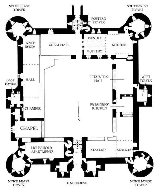 Floor Plan Blueprint Bodiam Castle Castle Floor Plan Castle Layout Medieval Castle Layout
