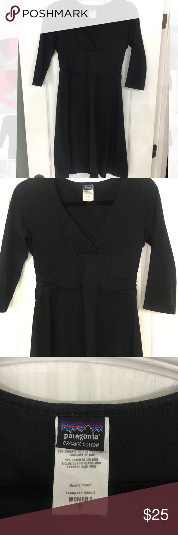 PATAGONIA DRESS✨ Black.size small Patagonia  Black vneck dress 3/4 sleeves Cotton Super comfy Patagonia Dresses