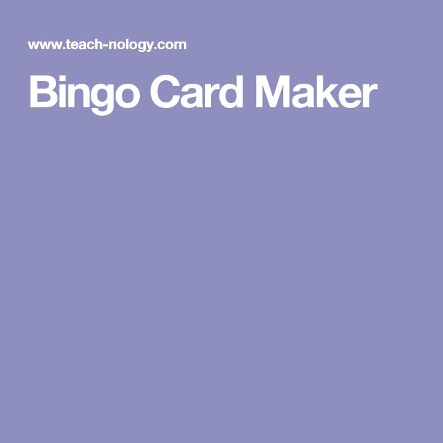 Bingo Card Maker More