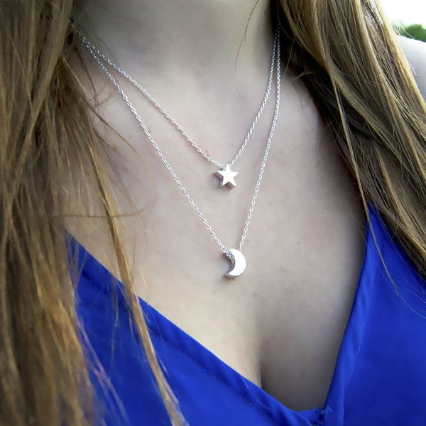 This cute layered moon and star necklace is a must have!