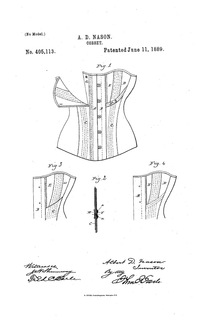 1889 Nursing corset US patent 405,113
