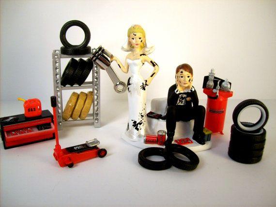 Funny Wedding Cake Topper Mechanics AUTO MECHANIC - I think I found our wedding cake topper!
