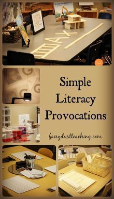 Provocations can be overwhelming. Let's take a look at some simple ideas for literacy provocations found in a Reggio-Inspired Preschool. Reggio Inspired | Literacy Ideas | Literacy Provocations | Fairy Dust Teaching