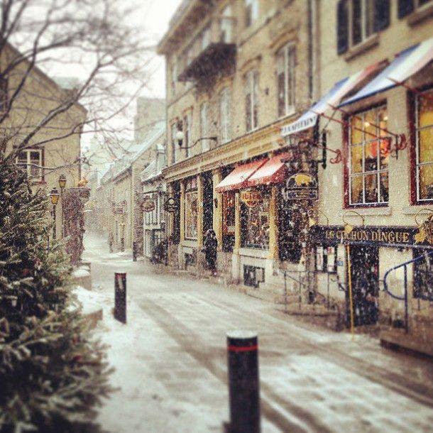 Snowfall in Quebec City.