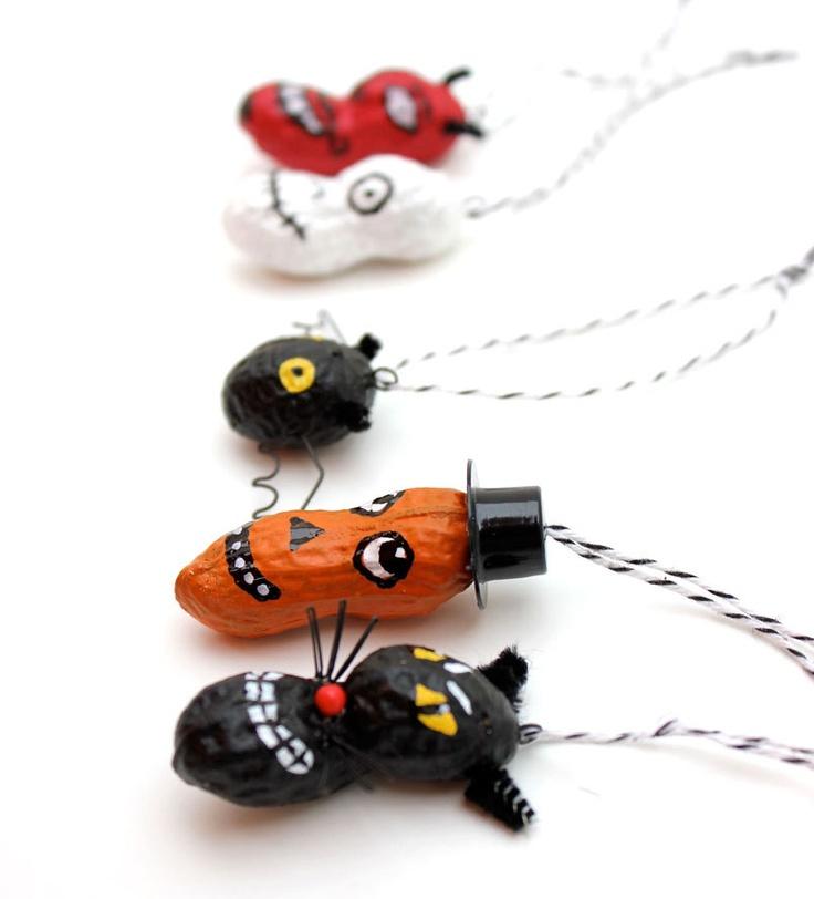 Halloween Ornaments - funny painted peanuts - devil, owl, black cat, jack o lantern, skull