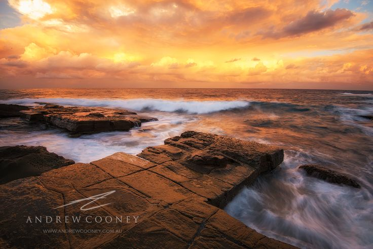 Terrigal on Sunset, looking amazing! Taken beside the Skillion, in rough surf.