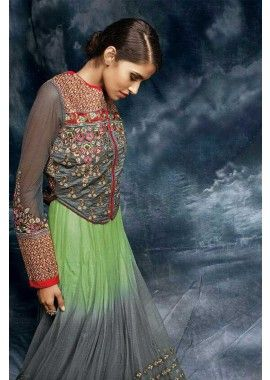 couleur gris georgette, costume Anarkali de soie, - 179,00 € #MeilleureCollection #ModeEthnique #RobesDifférentes #Shopkund