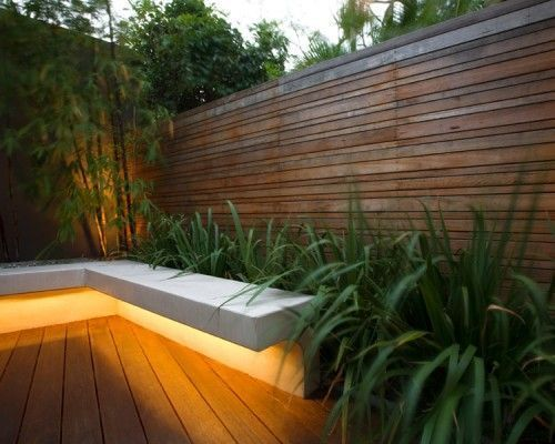 Great ambient light idea for a #MidCentury Modern outdoor space. #downlight below a bench area