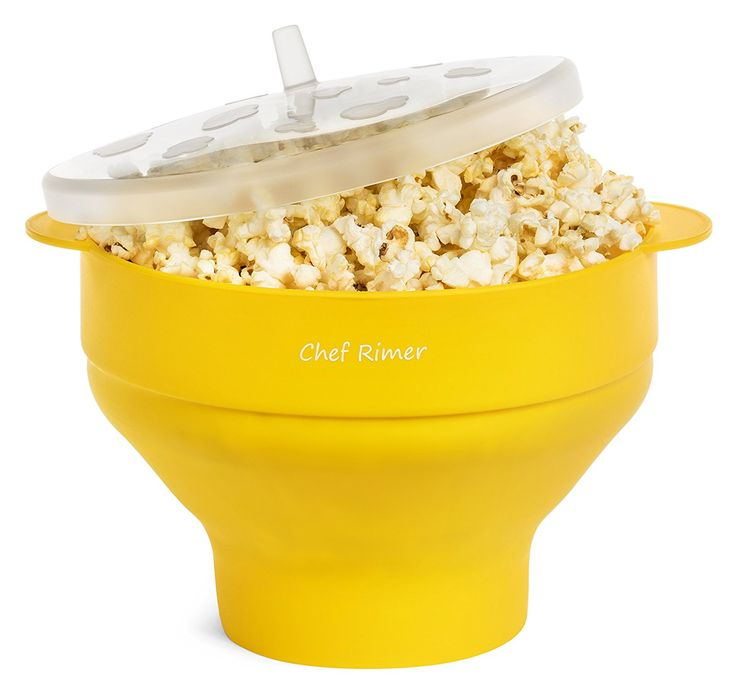 Chef Rimer Microwave Popcorn Popper Sturdy Convenient Handles Healthy No Oil Silicone Yellow Collapsible Hot Air Movie Theater Aroma Great Popcorn Maker Machine.BPA PVC Free With Lid * You can find more details by visiting the image link.