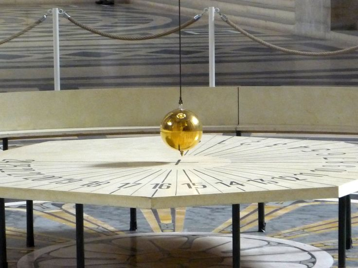 Foucault's Pendulum at the Pantheon in Paris. It keeps its trajectory it's everything else that moves. It's made to show to a greater public how the Earth spins. [2048 x 1536]