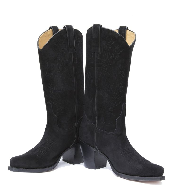 Black suede cowgirl boots from www.rsoles.com