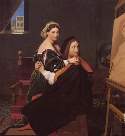 앵그르 - 라파엘로와 포르나리나    이그림은 르네상스시대의 그림은 아니지만 앵그르가 사랑의 의미로 재현한 라파엘로와 포르나 리나를 그린 작품이다. 뒷쪽 벽에 기대어있는 그림은 라파엘로의 작품인 <의자 위의 성모>이고 이젤위에 놓여진 그림은 작업중인 <라 포르나리나>이다. 앵그르는 아마 미술사에서 보기 드믄 화가와 모델의 가장 이상적인 연인관계를 표현하고 싶었던게 아닌가 싶다.