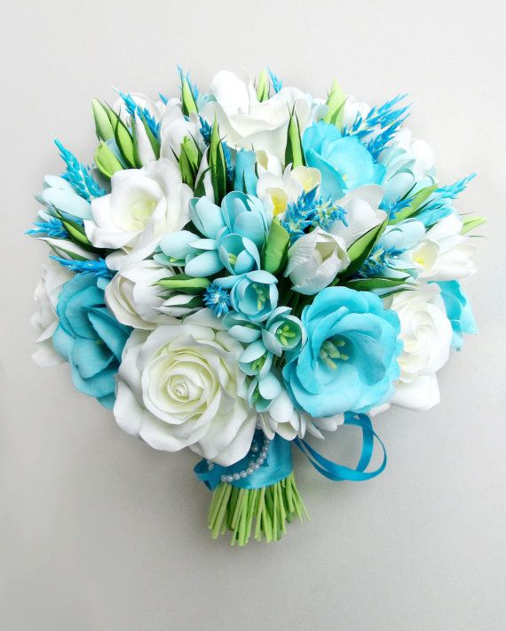 Sky Blue wedding bouquet aqua blue bouquet aqua by FlowersofSharon