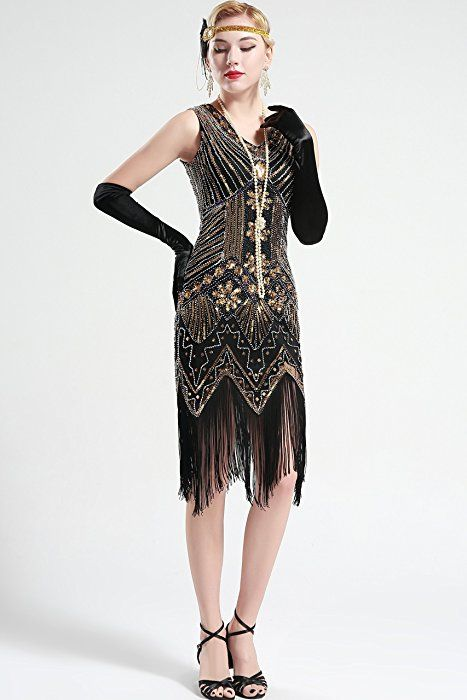 Shoppen Sie Babeyond Damen Flapper Kleider voller Pailletten Retro 1920er  Jahre Stil V-Ausschnitt Great 433eab4a0b