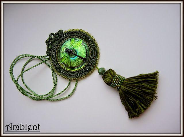 Soutache pendant Ambient: # 111 Wisiorek sutasz monochromatyczny - zieleń