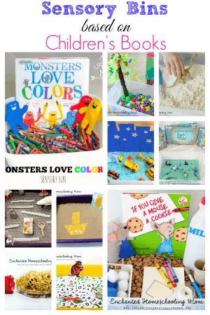 I love these sensory bins based on children's books. They all help children work on various skills such as fine motor, math, letter identification, colors and more!