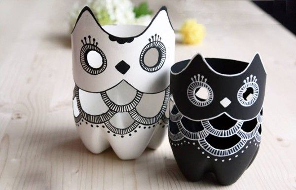 Recycle old plastic PET bottles into owls - DIY idea- transform the owls into nightlights for kids rooms