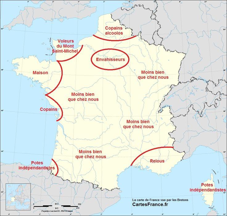 La carte de France vue par les Bretons