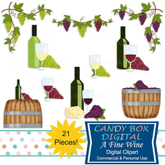 Wine and Grape Vineyard Clipart by CandyBoxDigital. Great clip art for digital scrapbooks and journals, blogs and websites, graphic designs, invitations, and all kinds of paper craft applications. At our Etsy shop.