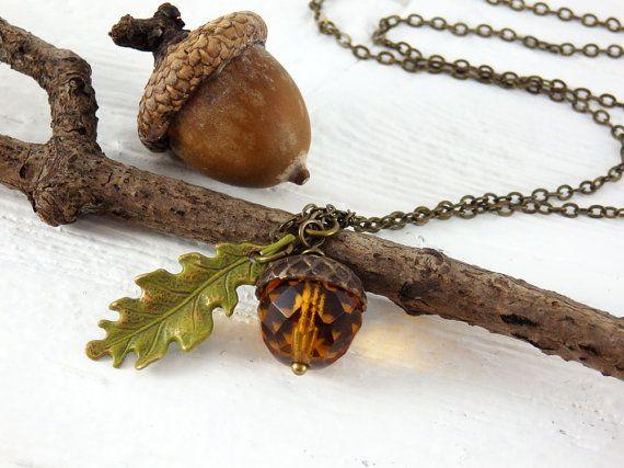 Acorn Necklace Oak Leaf Necklace Czech Glass by FallenLeafJewelry