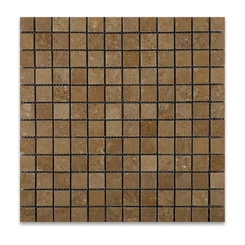1 X 1 Noce Travertine Tumbled Mosaic Tile - American Tile Depot - Shower, Backsplash, Bathroom, Kitchen, Deck & Patio, Decorative, Floor, Wall, Ceiling, Powder Room, Indoor, Outdoor, Commercial, Residential, Interior, Exterior