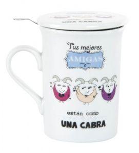 """Taza infusion con frase tus mejores amigas estan como una cabra - Taza infusion con filtro y tapa de porcelana, cuyo frase es """"tus mejores…"""