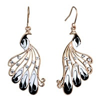 Pugster Golden Phoenix With Clear Rhinestone Crystal And White Drip Gum With Black Dots Dangle Earrings
