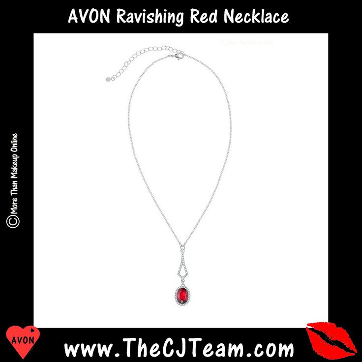 #Avon Ravishing #Red #Necklace The Ravishing Red Collection is better than roses with brilliant red stones making a breathtaking, romantic statement. Reg. $7.99. #RavishingRed #Necklace #CZ #CJTeam #C3 #RedHatSociety #Avon4Me #Jewelry #Vday #Valentine #valentinesdaygift #Gifts Shop Avon online @ www.TheCJTeam.com
