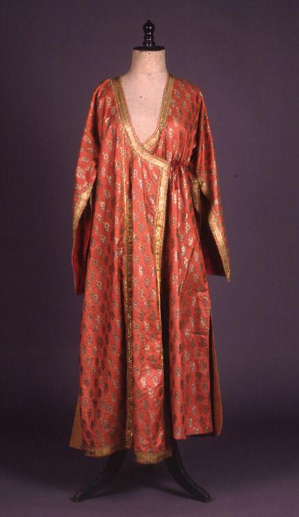 """Kavadi"". Overcoat. H. 1.32 m. Silli, Ikonio, Asia Minor. Peloponnesian Folklore Foundation Collection, Nafplion Donated by Ioanna Papantoniou. 1976.6.120. ""Kavadi"". Long-sleved pink brocade bridal overcoat of the Greeks of Silli, Ikonio, Asia Minor,..."