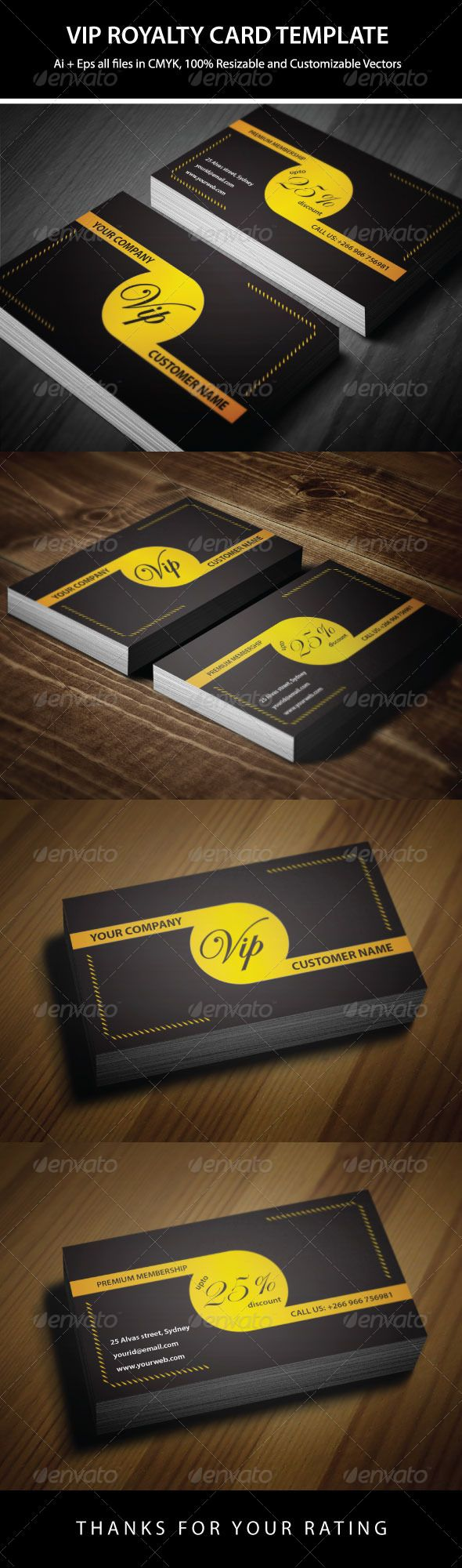 An excellent VIP loyalty card template which is suitable for any club, restaurant, fashion house or anything related to this.  -