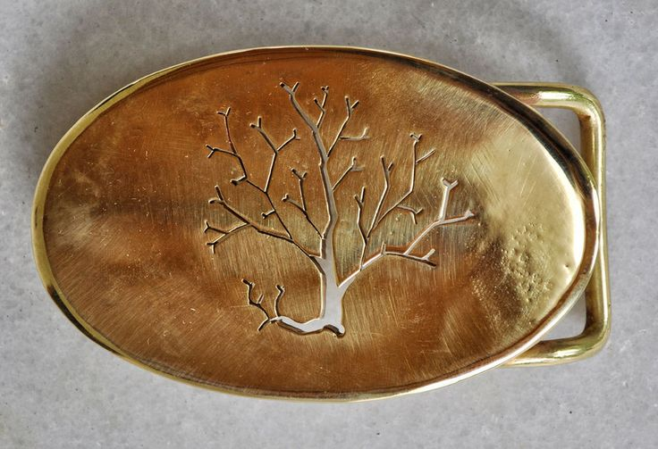 "Handmade Belt Buckle ""Autumn"" in brass with etched leafless tree #Casual"